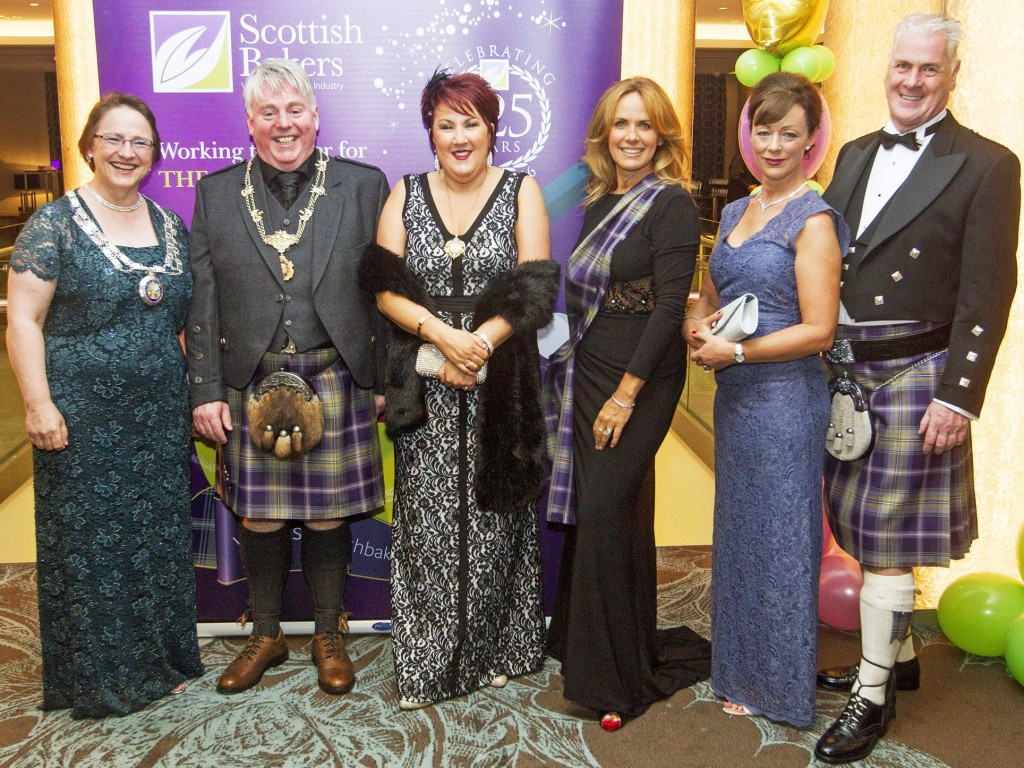 From left: Sara Autton, BSB; Scottish Baking President Craig McPhie with his wife Lesley; MC for evening TV presenter Carol Smillie: Scottish Bakers Chief Executive Alan Clarke with his fiancée Sue Gibson.
